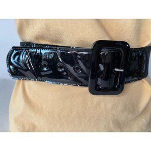 Black Patent and Stretch Belt